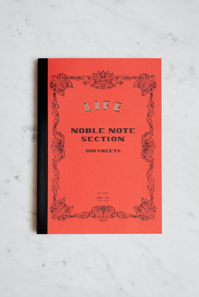 Life Stationery Japanese Paper Noble Note Notebook A4 21x29cm Grid Orange