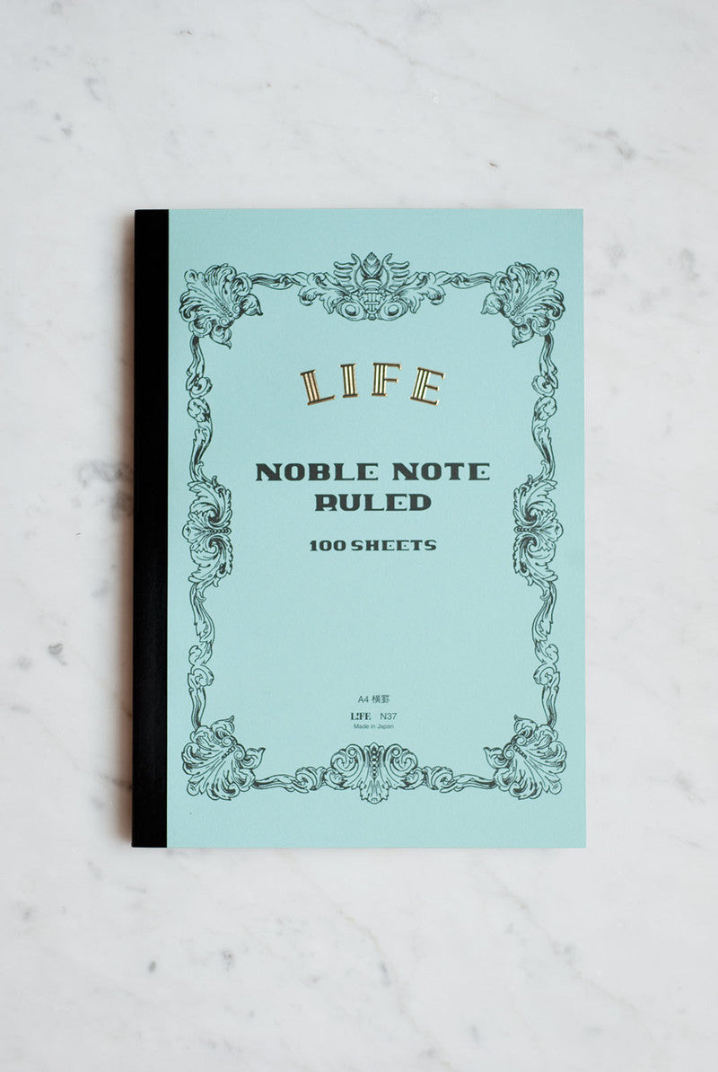 Life Stationery Japanese Paper Noble Note Notebook A4 21x29cm Ruled Light Blue