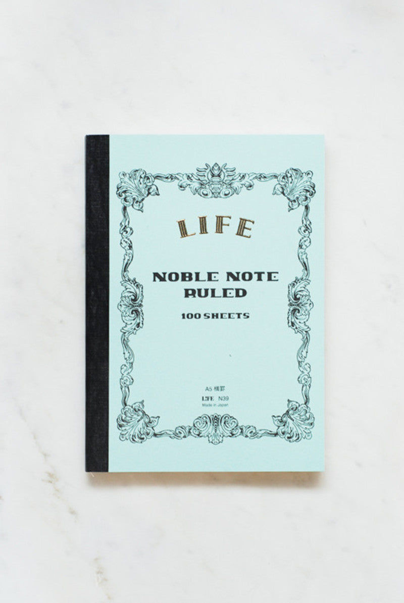 Life Stationery Japanese Paper Noble Note Notebook A5 15x21cm Ruled Light Blue