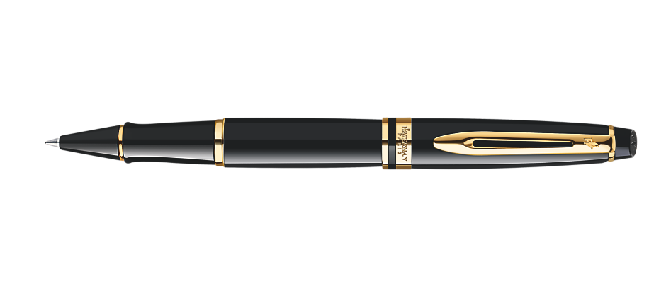 Waterman Expert Black Lacquer Gold Trim RB