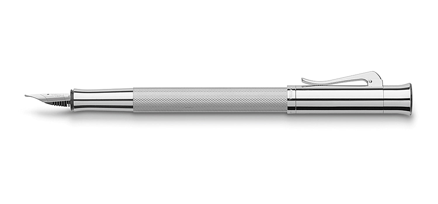 Graf Von Faber Guilloche Rhodium FP Fountain Pen M GVFC