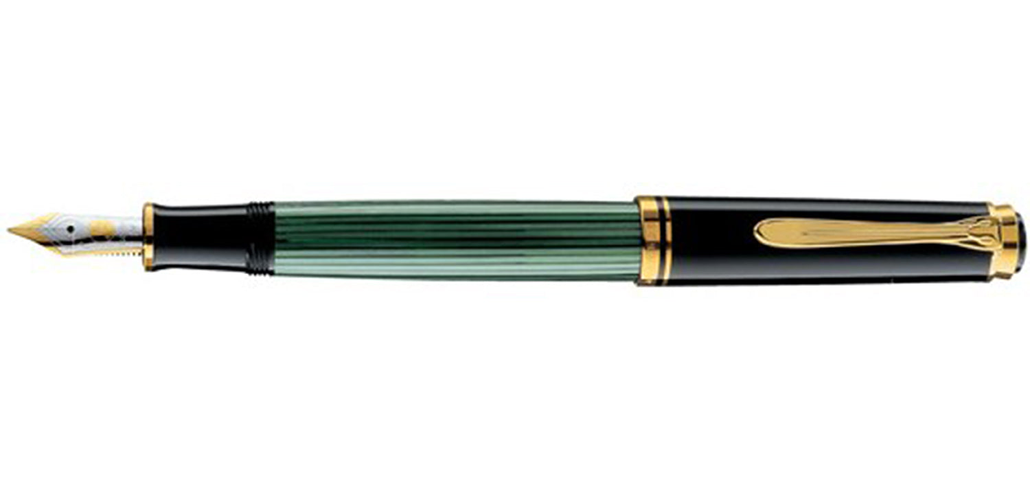 Pelikan M 400 Souveran black/green FP with gold F 14ct