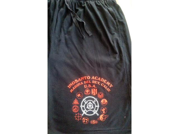 Inosanto Academy Shorts - Black with Red and White Logo