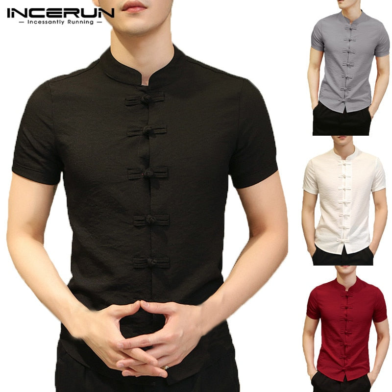 4537001735 Stylish Plain Mens Shirts Chinese Male Clothing Summer Tee Tops Dress Short  Sleeve Slim Fit Button Down Camisa Chemise Masculina