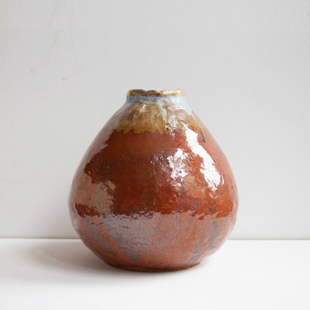 Brian Holland Gold Over Red 1 Ceramic Vessel