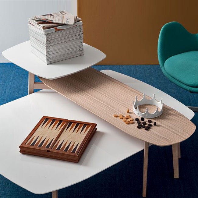 Calligaris Match Medium Rectangular Wooden Coffee Table with large rectangular top and slightly curved, bevelled-edged sides