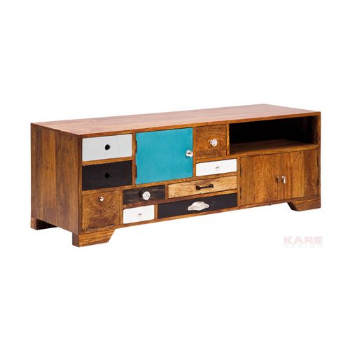Multicoloured wooden TV stand