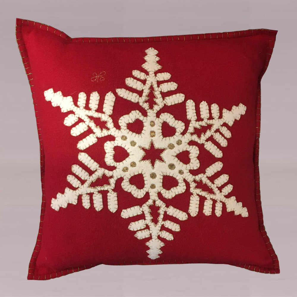 Jan Constantine Fretwork Snowflake Cushion in Red