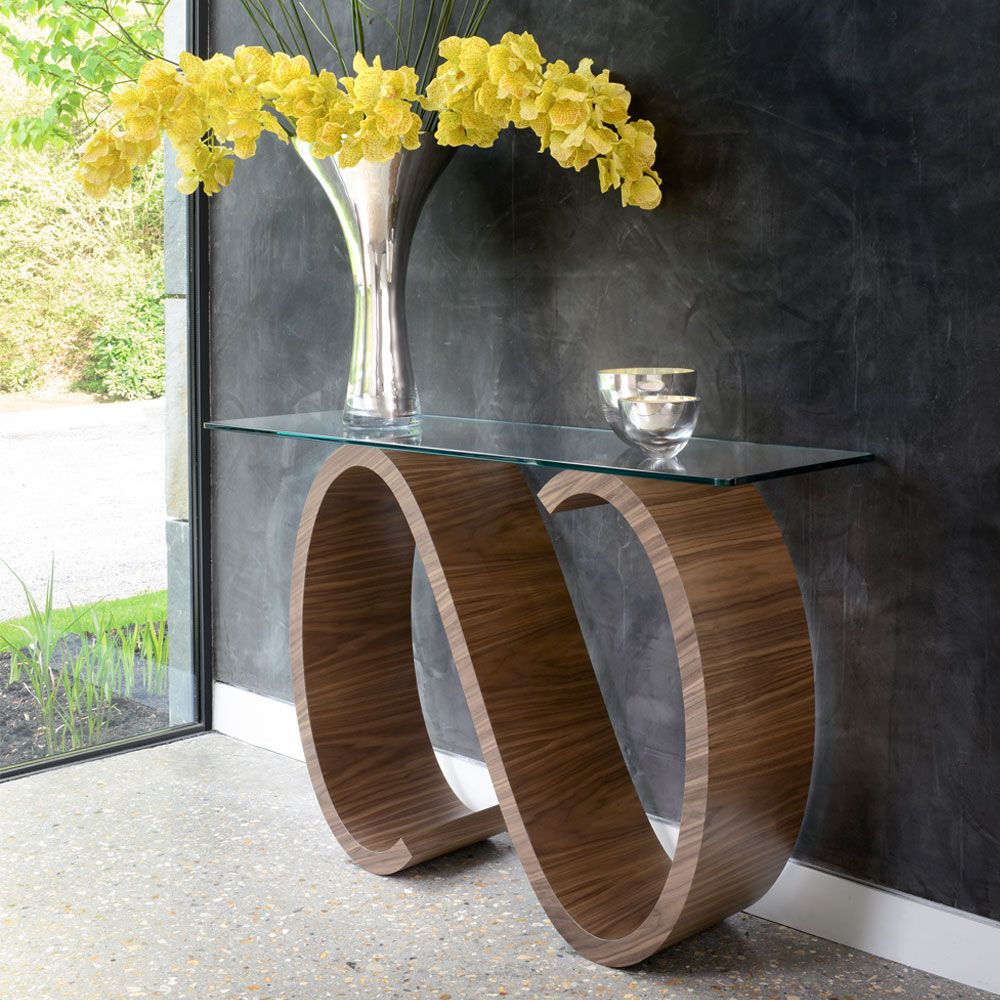 Tom Schneider Swirl Side Table in walnut natural