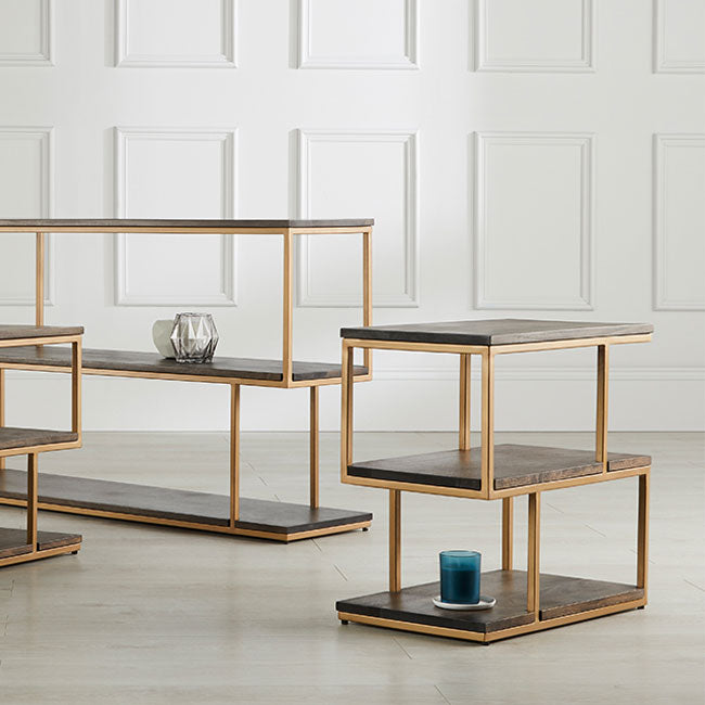 Balance Metal Side Table features a combination of wooden shelves and metal framework