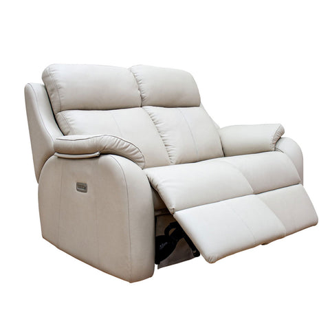 G Plan Kingsbury 2 Seater Double Power Leather Sofa with Headrest & Lumbar Support