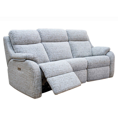 G Plan Kingsbury 3 Seater Double Power Recliner Curved Fabric Sofa with Headrest & Lumbar Support