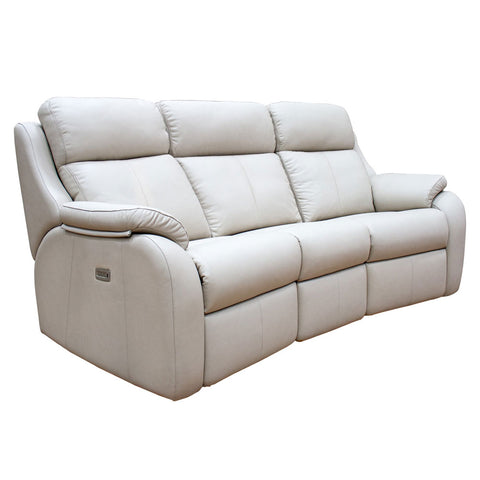 G Plan Kingsbury 3 Seater Double Manual Recliner Curved Leather Sofa
