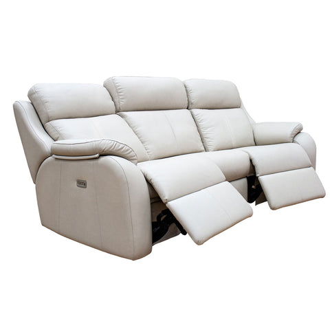 G Plan Kingsbury 3 Seater Double Power Recliner Curved Leather Sofa with Headrest & Lumbar Support