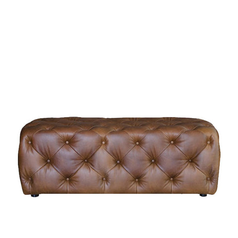 Alexander & James Large Button Leather Stool