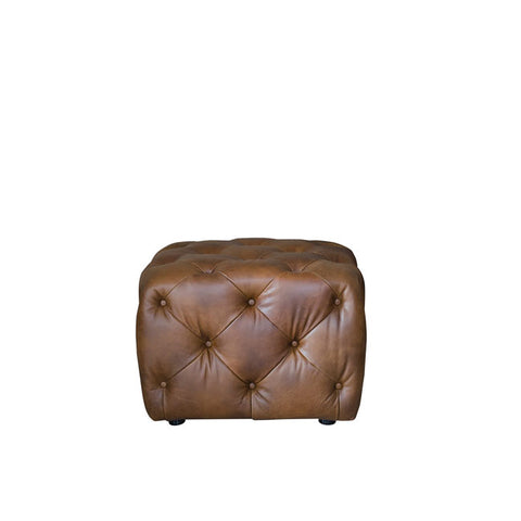 Alexander & James Small Button Leather Stool