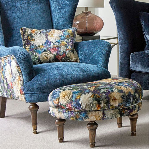 Spink & Edgar Crawford Stool in Allure Velvet Azure with Royal Garden Sapphire Top