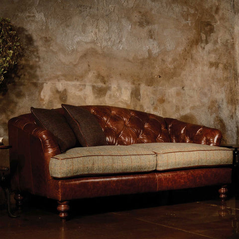 Tetrad Harris Tweed Dalmore Petit Sofa - Option B (Leather & Tweed)
