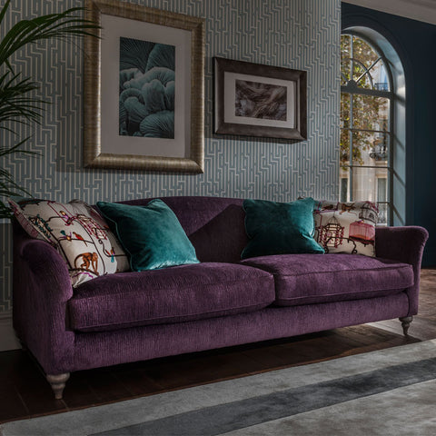 Spink & Edgar Lamour Grand Sofa in Kuba Amethyst with scatters in Menagerie Aqua and Allure Aquamarine