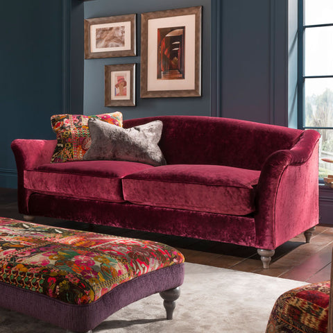Spink & Edgar Lamour Midi Sofa in Opium Ruby with scatters