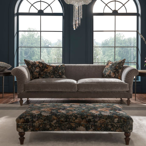 Spink & Edgar Loretta Grand Sofa in Opium Diamond with scatters in Royal Garden Quartz