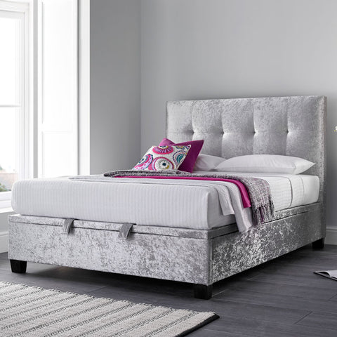 Kaydian Walkworth Ottoman Storage Bed - Silver Crushed Velvet