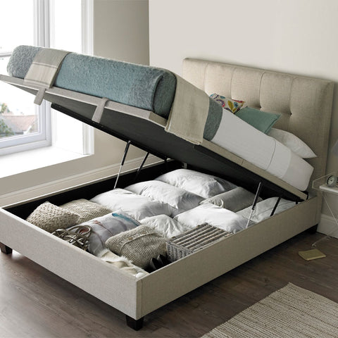 Kaydian Walkworth Ottoman Storage Bed - Pendle Oatmeal Fabric