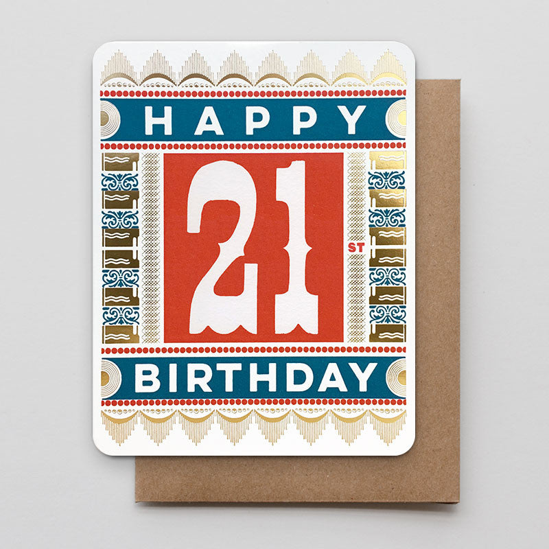 Happy 21st gold foil letterpress birthday card happy 21st birthday bookmarktalkfo Image collections