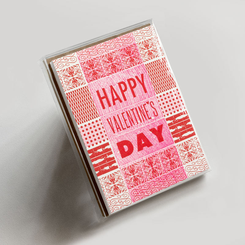 Valentine S Day Pattern Letterpress Greeting Card Boxed Set
