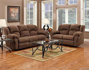 Aruba Chocolate Duel Reclining Sofa and Love Seat