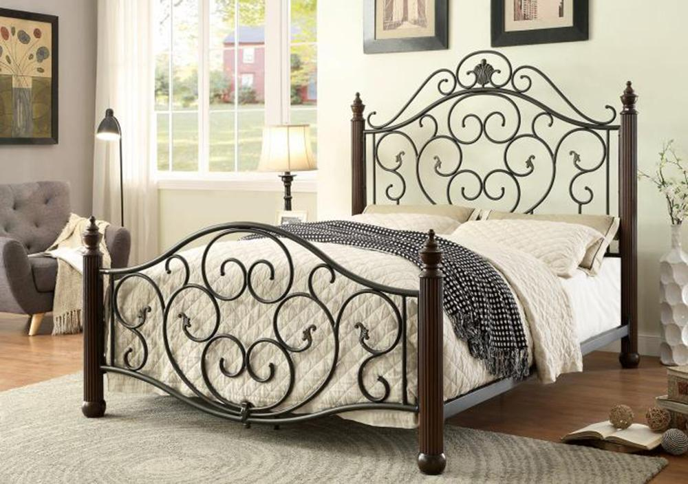 Lucia king powder coated black bed (7688k)