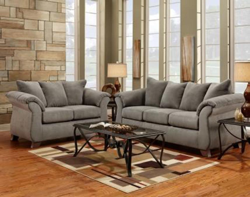 Sensations Microfiber Sofa and Loveseat, Gray - Arkansas Furniture Mart