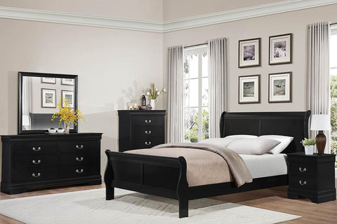 Sleigh Bed, Bedroom Set, Black