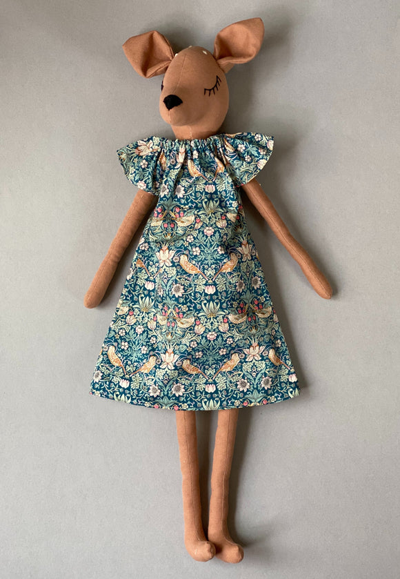 Strawberry thief Liberty fabric dress for 55 cm friends