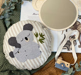 Koala mummy and baby punch needled linen cushion