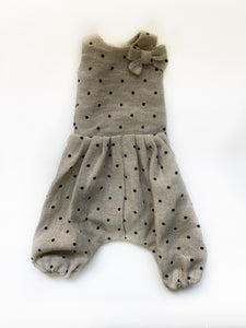 Polka dot linen romper with bow for 55 cm friends