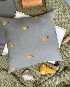 Linen cushion cover with hand embroidered tiny pears