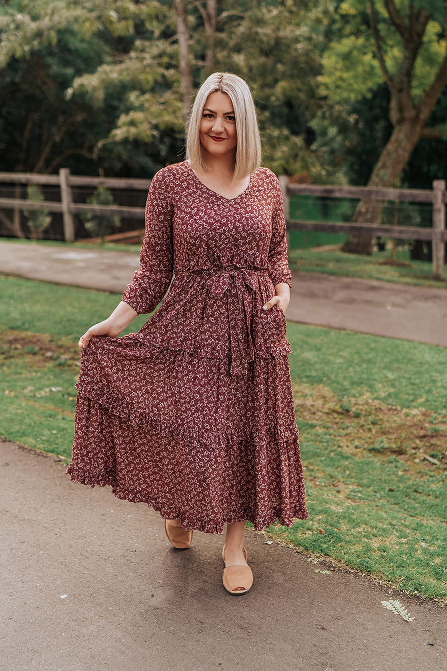 Ava Dress - Wine Floral