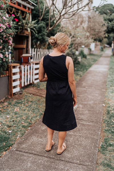 Button Front Navy Dress