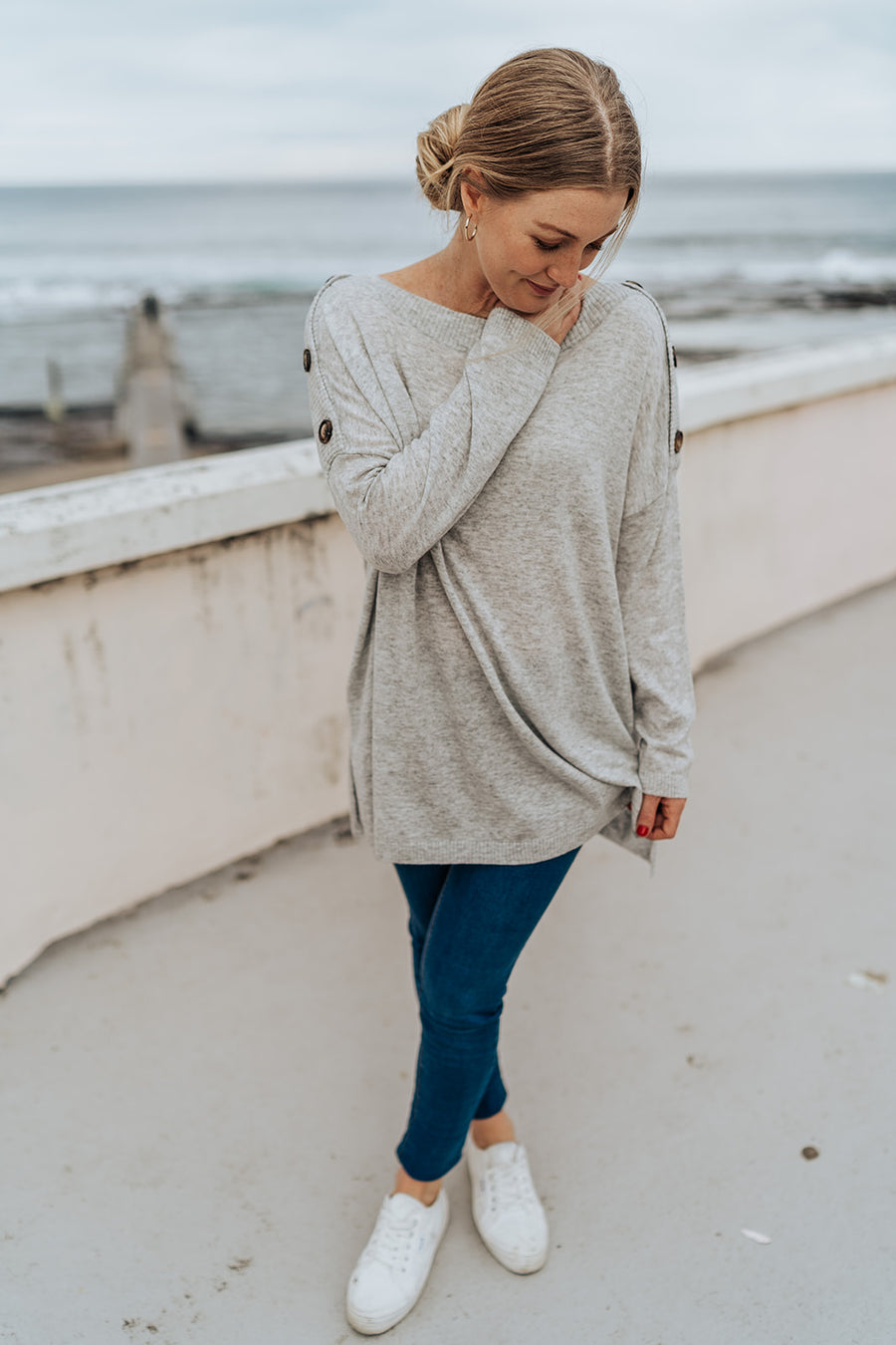 Button Grey Knit
