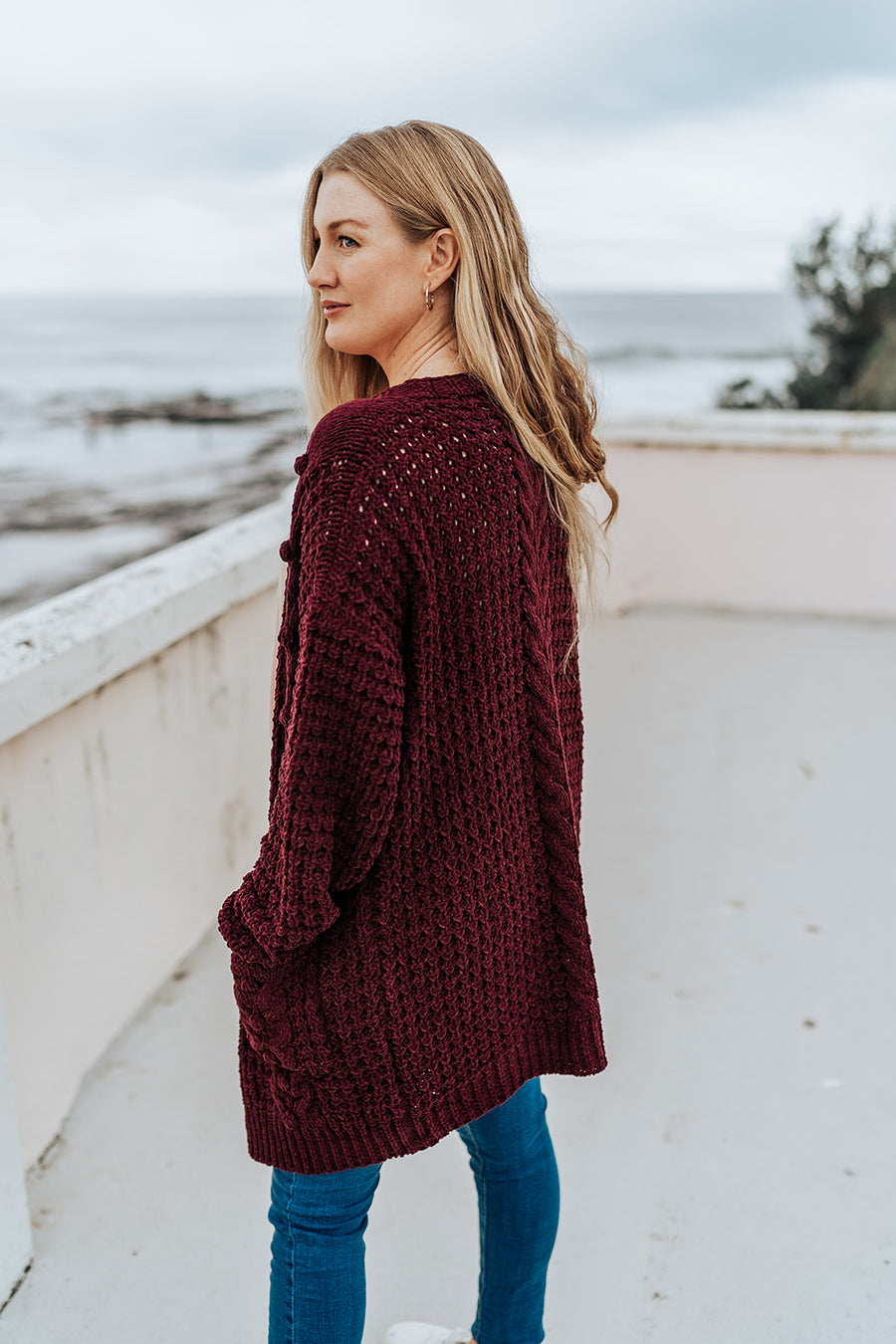 Cable Knit Plum Cardigan