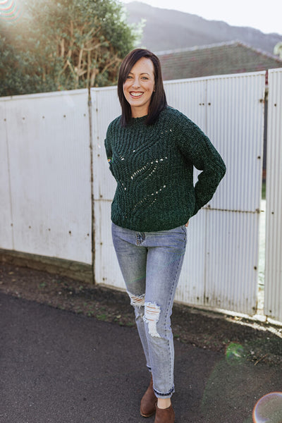 Crop Emerald Green Knit