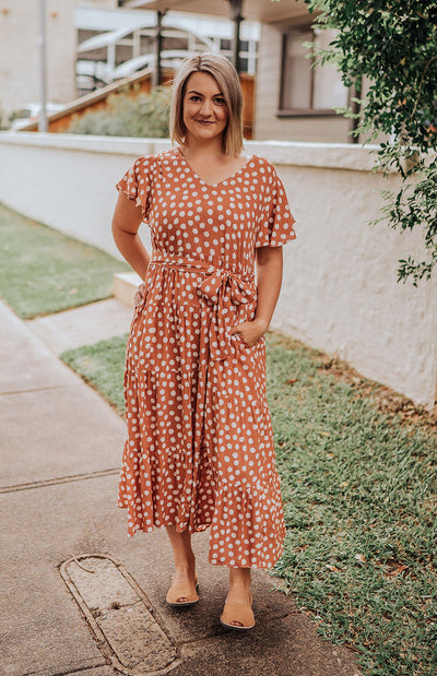 Flutter Sleeve Dotty Tiered Maxi