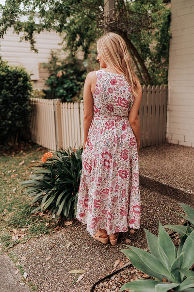 Floral Rose Tiered Maxi