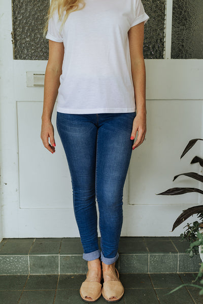 High Rise Mid Wash Skinny Jean