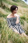 Off Shoulder Striped Maxi