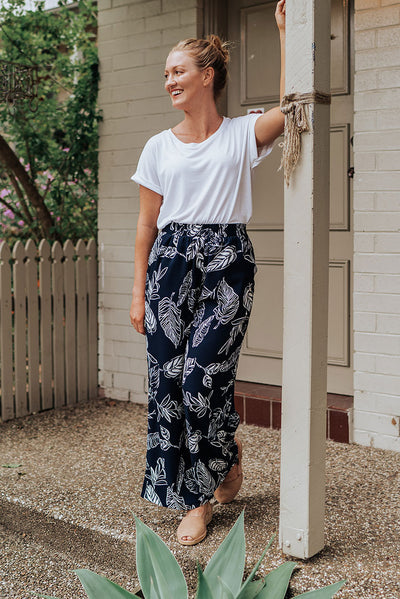 Pattern Navy Pants