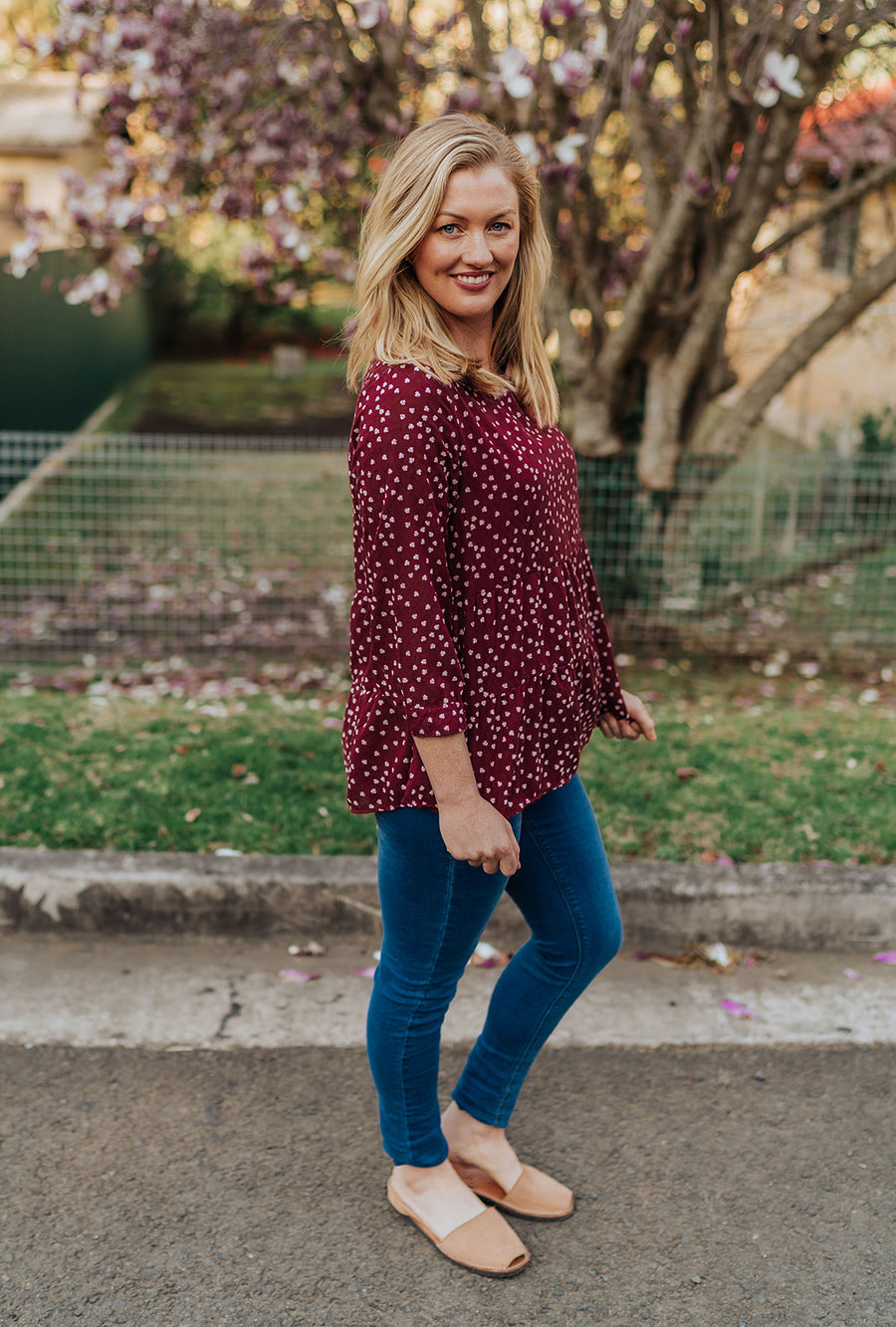 Presley Top - Wine Floral