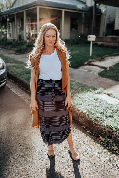 Raw Edge Navy Skirt