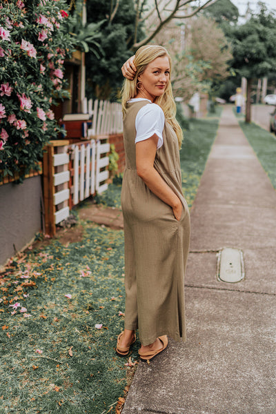 Relaxed Khaki Jumpsuit